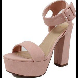 Pink Open toe ankle strap block heel